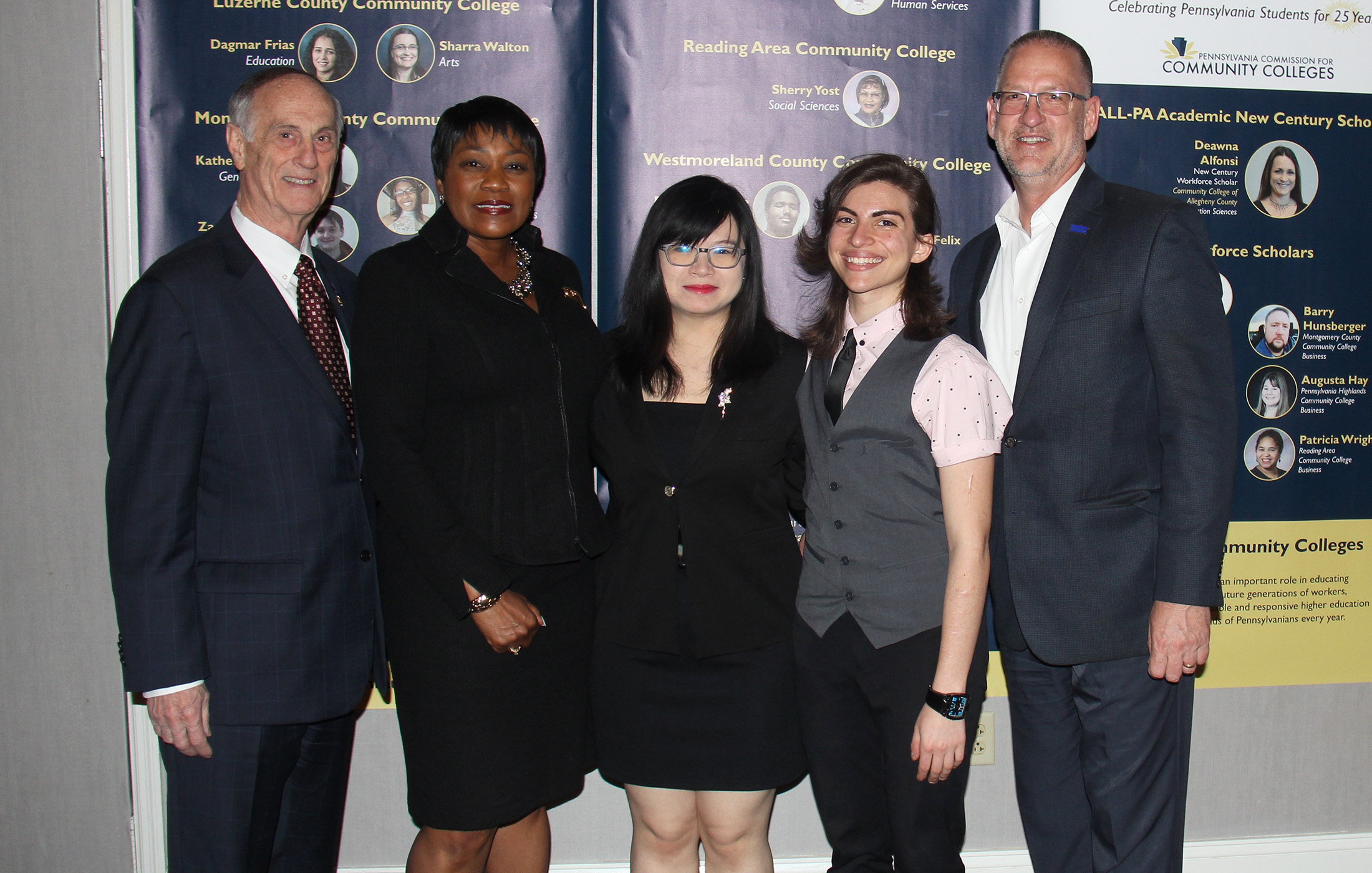 Delaware County Community College Board of Trustees Chair Donald Heller, President Dr. L. Joy Gates Black, All-PA Scholar Zun Phyu Thant, All-PA and Coca-Cola Silver Scholar Em Mirra, and Trustee Michael Ranck