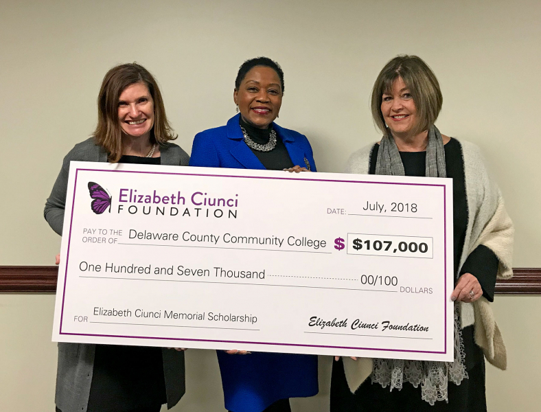 Board Member Jennifer Ganley, College President Dr. L. Joy Gates Black and Board President Jacqueline Ciunci representing the Elizabeth Ciunci Foundation