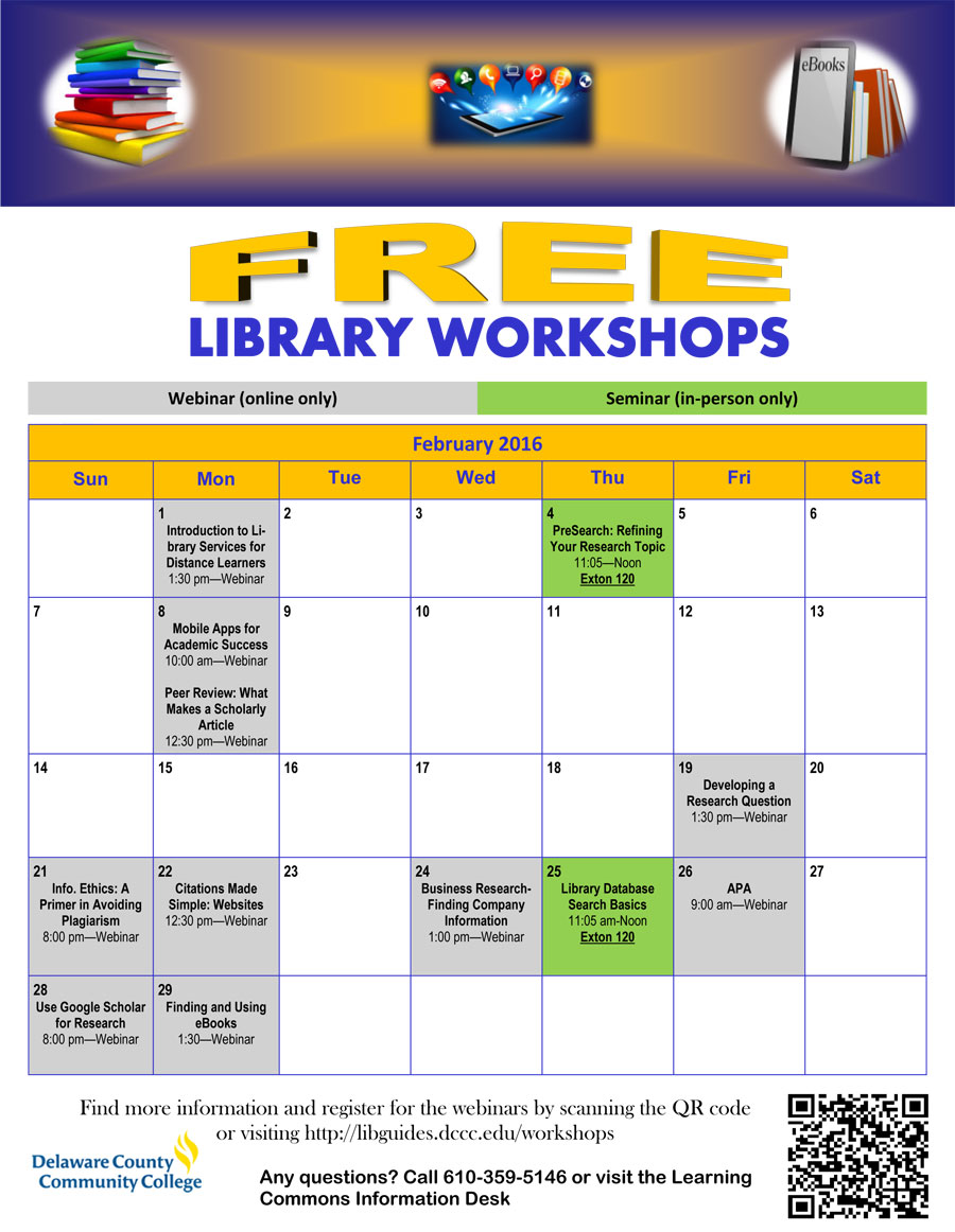 Spring 2016 Library Workshops