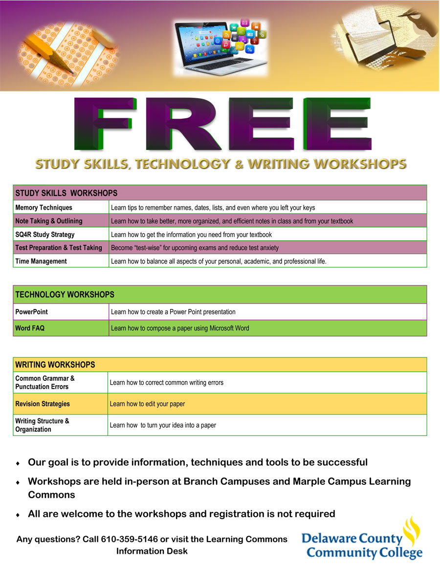 Spring 2016 Study Skills, Technology & Writing Workshops