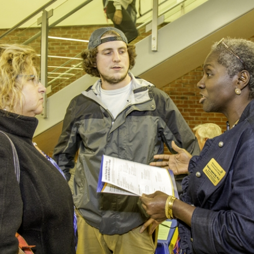 2015 Fall Open House student talking to each other