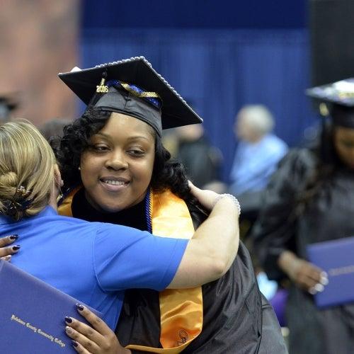 Graduate gets a hug