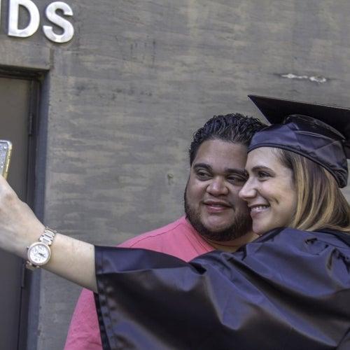 Graduate taking a selfie
