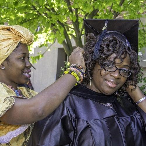 Graduate's family member moves tassle