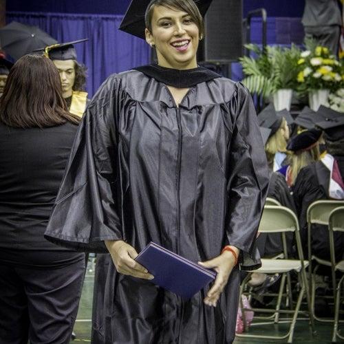 Graduate poses
