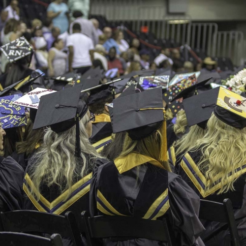 Students sitting at commencement