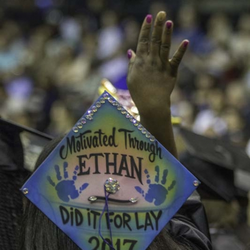 Customized student cap with words Motivated Through ETHAN, Did it for lay 2017.