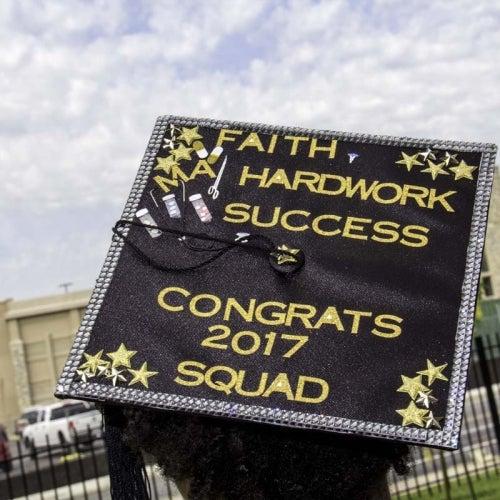 "Customized student cap with words ""Faith, Hardwork, Success, Congrats 2017 Squad"""