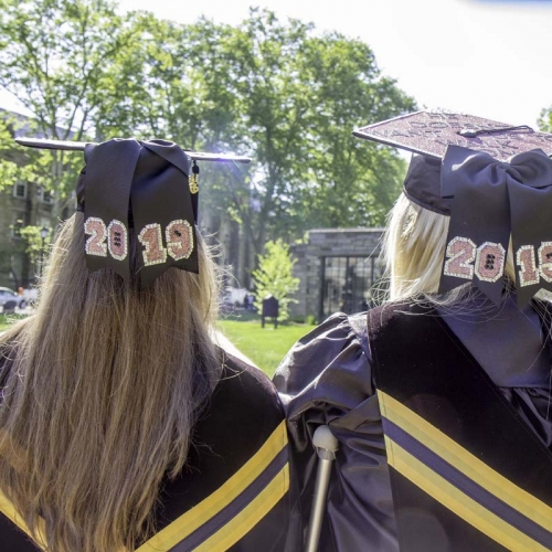 Grads with 2019 on the backs of their caps