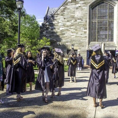 Grads gathering outside