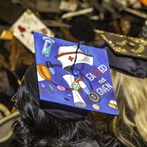Decorated cap at graduation