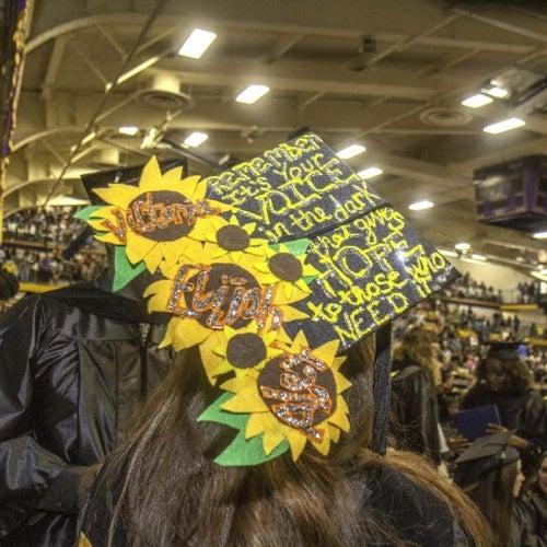 Decorated cap during ceremony