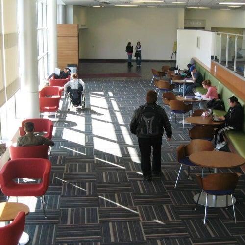 Students in STEM building